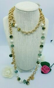 """CHARTER CLUB gold-tone imitation pearl flower coin long strand necklace 42"""""""