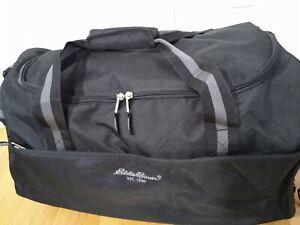 "Eddie Bauer 24"" Rolling Duffel Carry on Suitcase wheels black Gray"