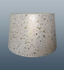 """12"""" FOILE EMPIRE DRUM SHADE IN GOLD & CREAM COLOUR FOR TABLE LAMP OR CEILING USE"""