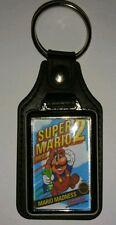 NINTENDO NES SUPER MARIO 2 BROS BRO  COVER ART LEATHER KEYRING Xmas gift idea