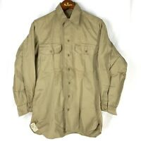 Original 1945 WWII Cotton Khaki Uniform Shirt US Army Mens 14 1/2 / 32 NOS