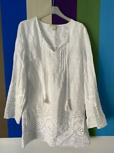 Cynthia Rowley Womens Beach Dress S White Embroidered long Sleeve mini caftan