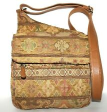 ❤️FOSSIL Floral Tapestry Tan Leather Organizer Cross-Body Bag 7.5x8 GREAT! L@@K!