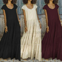 Mode Femme Manche Courte Col Rond Pur Coton Party Plage Vacances Robe Dresse