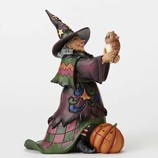 "Witch with Owl Jim Shore Heartwood Creek ""Hoot 'n Howl For Halloween"" 9.6 in New"