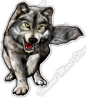 "Gray Wolf Snarl Wild Life Animal Forest Car Bumper Vinyl Sticker Decal 4.6"""