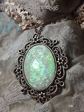 # JRK1114 Opal Pearl Cameo Necklace Pendant Rose Gold Copper Victorian Fire Goth