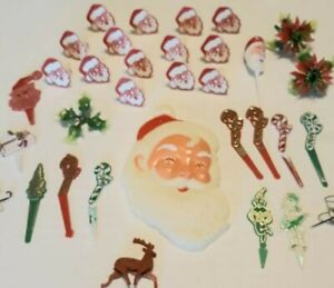 Vintage Christmas Cake Decorations Toppers Cupcake Picks Santa Rings Elves Candy