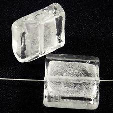 Lot de 4 perles en verre Feuille d'Argent Carrées 20mm Blanc