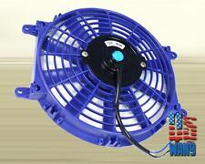"9"" inch Universal Slim Fan Push Pull Electric Radiator Cooling 12V Blue Kit"