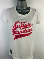 WOMEN SUPERDRY WHITE LOGO PRINT SHORT SLEEVE CREW NECK CASUAL T SHIRT SIZE SMALL