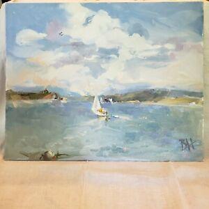 Ocean Coastal Surf Sailboat 16x20  Original Impressionism Oil Painting Seascape