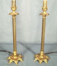 A VINTAGE PAIR OF MID CENTURY SPIRAL TWIST PETAL BASE BRASS LAMPS
