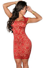 Red Lace Nude Illusion Vintage Style Midi Party Dress Medium