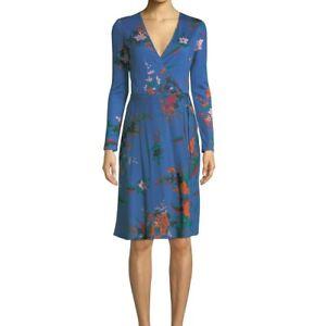 DIANE VON FURSTENBERG L/S Wrap Dress Blue DVF Camden Cove New US 14 UK 16 18
