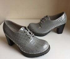 Vgc! Sz6 Dr Martens Danielle Grey/ Silver Lace Up High Heels Shoes Eu39