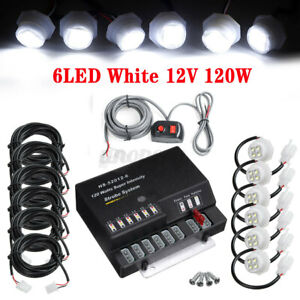 120W 6 LED 12V Bulb Hide Emergency Hazard Warning Strobe White Light System