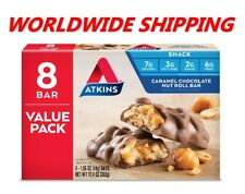 Atkins Caramel Chocolate Nut Roll Snack Bars 12.4 Oz 8 Ct WORLDWIDE SHIPPING