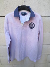 Polo RALPH LAUREN rose clair Custom Fit broderie S manches longues