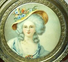 "Vtg 18th Century Lady Portrait Celluloid Vanity Hand Mirror 4 5/8"" Shabbily Chic"