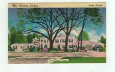 FL Ocala Florida 1950 linen post card Mt. Vernon Lodge Hotel Court