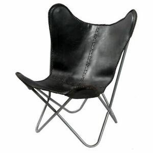 Handmade Home Decor Furniture Black Leather Butterfly Chair Relax Folding Chair