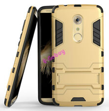for ZTE Axon 7 Case Rugged Armor Shockproof Hybrid Kickstand Protective Cover Gold