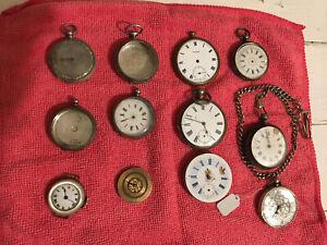 Job Lot Of Vintage Pocket Watches + 1x wrist watch