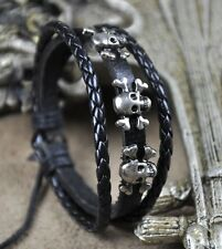 U01 Surfer Cool Leather Hemp Braided Bracelet Wristband Bangle Skull Bones Black