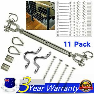 Stainless Steel Wire Rope DIY Balustrade Kit Jaw/Eye Straps Fork Turnbuckle 11PC