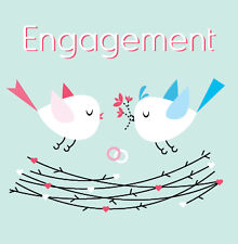 "Card - ""Engagement"" love birds with rings"
