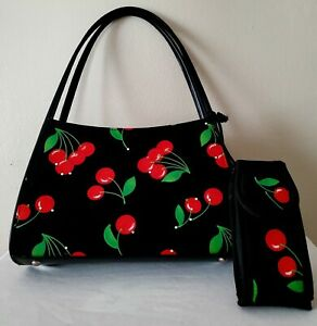 *Vintage* Cherry Print Purse with a detachable cell phone case included