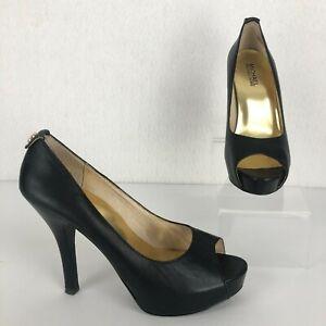 MMK Michael Kors Women's 7.5M Black Leather Peep Toe Platform High Heel Pumps