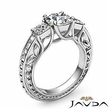 Round Diamond Filigree Engagement GIA F SI1 Platinum Trellis 3 Stone Ring 1.9ct