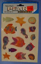PAPER MAGIC PEARL STICKERS FISH SEAHORSE STARFISH 1 SHEET 14 STICKERS SEALED