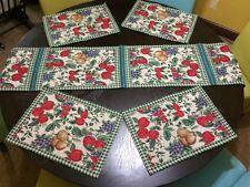 5 Piece Fruit Print Tapestry Placemat & Runner Set