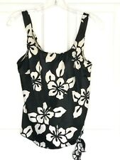 Maxine of Hollywood tankini top black white floral size 12