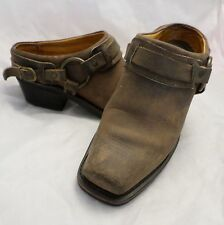 FRYE made USA brown distressed leather short mule clog harness boots 8M