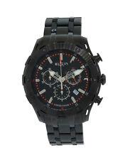 Elgin 1863 52104.B Men's Swiss Made Chronograph Date Black Stainless Steel Watch