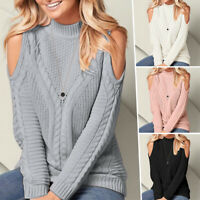 Women Cold Shoulder Ribbed Knitted Sweater Winter Pullover Jumper Knitwear Tops