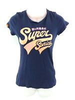 SUPERDRY Womens T Shirt Top S Small Navy Blue Cotton