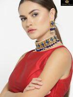 Indian Pakistani Kundan Pearl Necklace Earrings Bollywood Bridal Women Jewelry