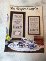 1995 THE NUTMEG NEEDLE CROSS STITCH CHART LEAFLET The Teapot Sampler