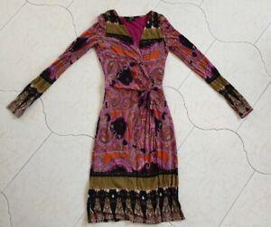 Etro Wool Jersey  Magenta Olive Dress Size 38