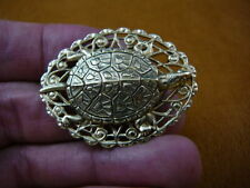 (b-turt-252) Map Turtle pond turtles lover love oval filigree brass pin pendant