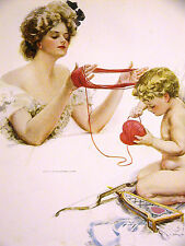 Harrison Fisher Girl VALENTINE'S DAY CUPID w BOW and RED HEART 1909 Print Matted