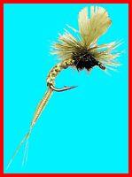 Light Olive Klinkhamer Fly Fishing Flies -Twelve Premium Flies Choice of Size