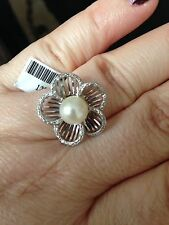 Genuine Pearl and .08 CTWhite Diamond Platinum overlay Sterling Silver Ring