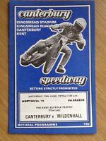 Canterbury V Mildenhall Speedway Programme 19/06/76