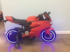 12v kids ride on mini bike motorcycle red electric battery powered tron style